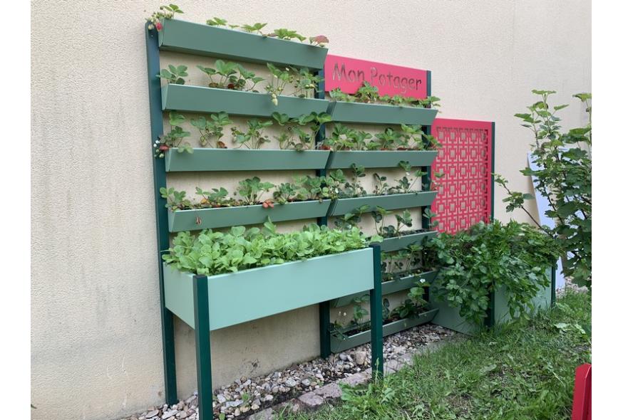 Carré potager mural sur pieds + jardinière, 10 godets de fraises radis et plantes aromatiques